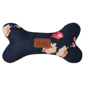 Joules Floral Plush Dog Bone Dog Toy Navy Floral Dog