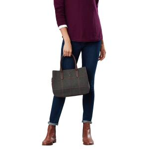 Joules Ladies Thernwell Tweed Bag Dark Green Grid Tweed