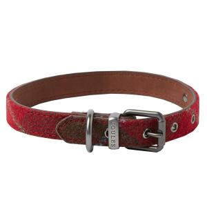 Joules Tweed Leather Dog Collar Red Tweed