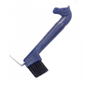 Lincoln Horse Head Hoof Pick with Brush Blue