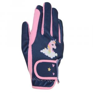 Little Riders Childs Unicorns Riding Gloves Candy/Navy