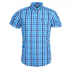 Barbour Mens Gingham 20 Short Sleeve Tailored Shirt Blue