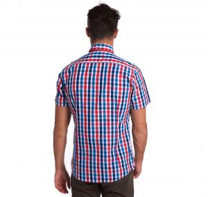 Barbour Mens Gingham 20 Short Sleeve Tailored Shirt Red