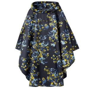 Joules Ladies Showerproof Poncho Navy Gold Floral