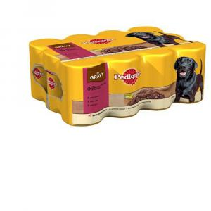 Pedigree Tins Beef Chunks in Gravy Pack 12