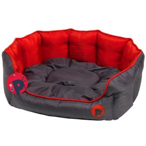Petface® Oxford Oval Bed Grey/Red
