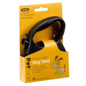 Petface® Retractable Dog Lead Black