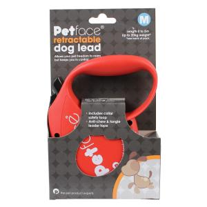 Petface® Retractable Dog Lead Red