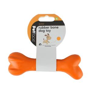 Petface® Solid Rubber Bone Orange