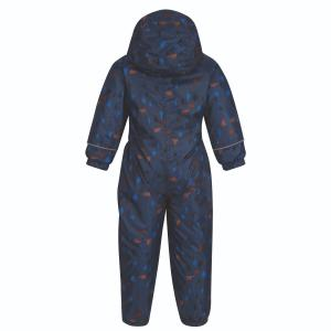 Regatta Junior Printed Splat II Rainsuit Dark Denim Bear