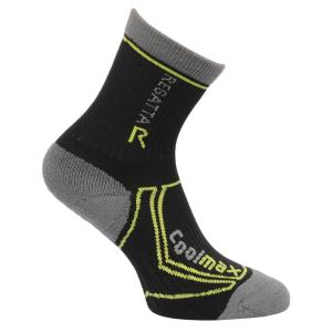 Regatta Kids 2 Season Coolmax® Trek & Trail Socks Black/Oasis Green