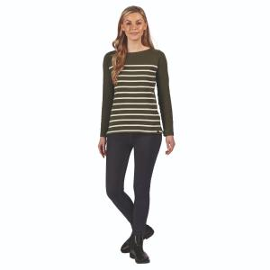 Regatta Ladies Ferelith Long Sleeved T-Shirt Dark Khaki Stripe