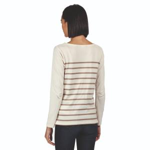 Regatta Ladies Ferelith Long Sleeved T-Shirt Light Vanilla Stripe