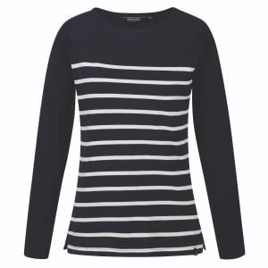 Regatta Ladies Ferelith Long Sleeved T-Shirt Navy Stripe