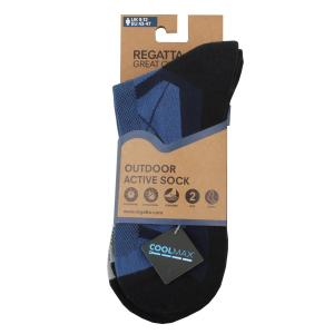 Regatta Mens Outdoor Active Socks 2 Pack Navy/Dark Steel
