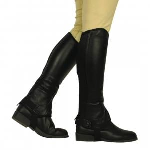 Saxon Childs Equileather Half Chaps Black