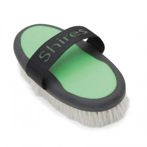 Shires Ezi-Groom Body Brush with Goat Hair Green
