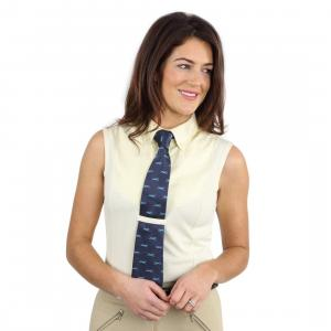 Shires Ladies Sleeveless Tie Collar Show Shirt Yellow