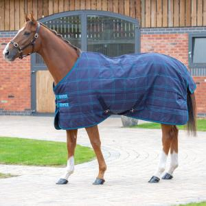 Shires Tempest Plus 100g Lightweight Standard Neck Stable Rug Navy Blue Check