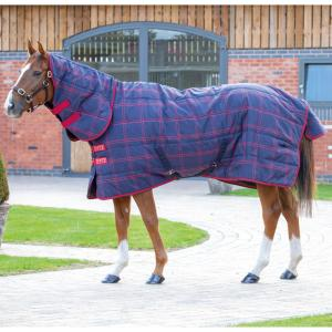 Shires Tempest Plus 200g Medium Weight Combo Neck Stable Rug Navy Red Check
