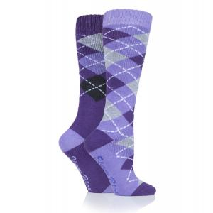 Storm Bloc® Ladies Midweight Argyle Lingfield 2 Pack Socks Purple