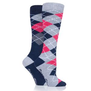 Storm Bloc® Ladies Midweight Argyle Lingfield 2 Pack Socks Navy