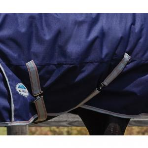 WeatherBeeta ComFiTec Essential 50g Lightweight Plus Combo Neck Turnout Rug Navy/Silver/Red