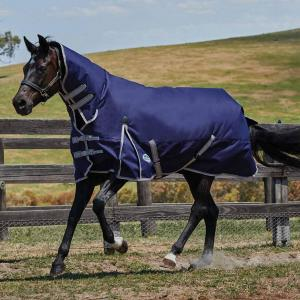 WeatherBeeta ComFiTec Essential 220g Medium Weight Combo Neck Turnout Rug Navy/Silver/Red