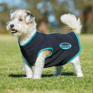 WeatherBeeta Fleece Zip Dog Coat Black/Turquoise