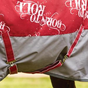 WeatherBeeta Rocky 220g Medium Weight Combo Neck Turnout Rug Ruby Born To Roll Print
