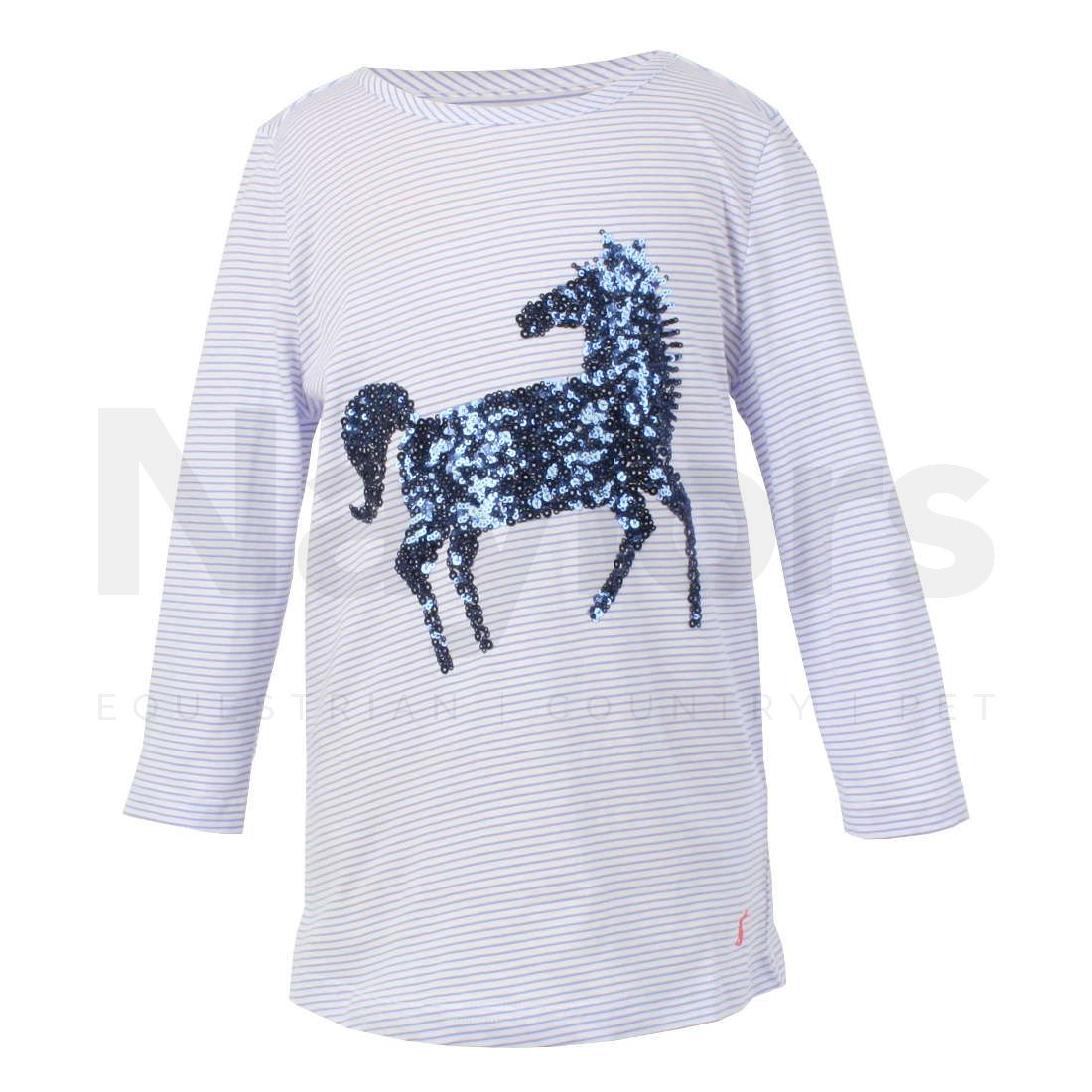 NAVY STRIPE DOG Joules Ava Applique Top