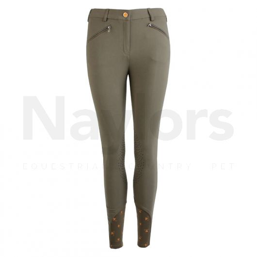 Aubrion Ladies Thompson Knee Patch Breeches Olive