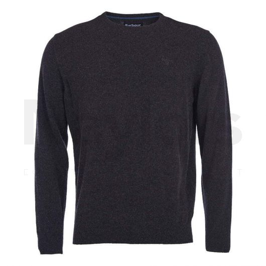 Barbour Mens Essential Lambswool Crew Neck Sweater Charcoal. Front Shot.