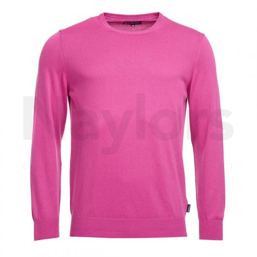 Barbour Mens Garment Dyed Crew Knit Fuschia Pink