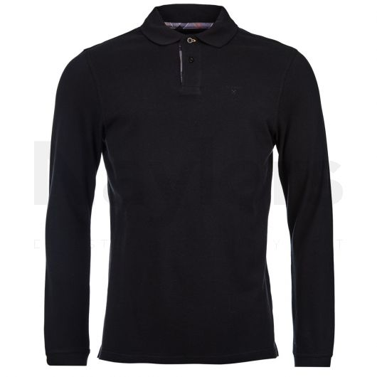 Barbour Mens Long Sleeved Sports Polo Black