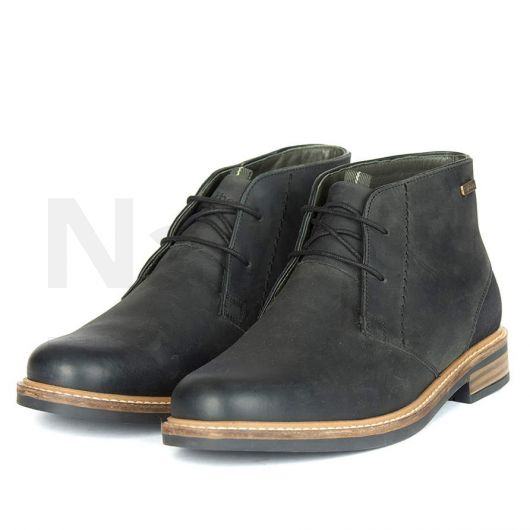 Barbour Mens Readhead Leather Boots Black. Side Shot.