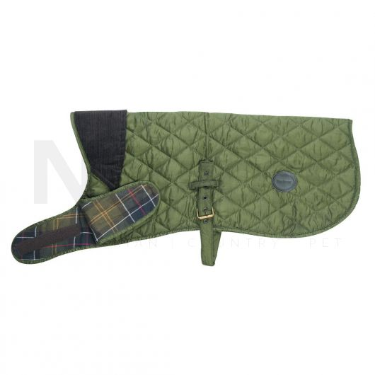 Barbour Quilted Dog Coat Olive. side shot