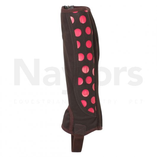 Dublin Childs Easy Care Spot Print Half Chaps Brown/Pink