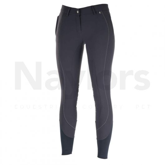 Horze Ladies Kiana Knee Patch Breeches Light Peacoat Dark Blue/Silver - Front View