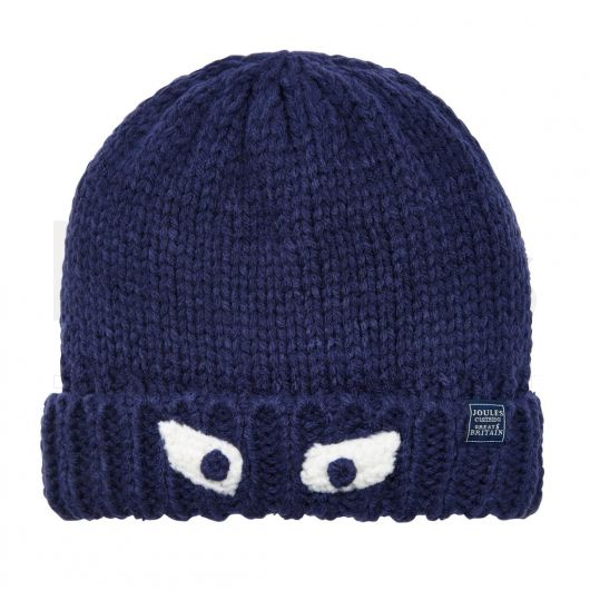 Joules Boys Chummy Glittens Character Hat French Navy. Front shot.