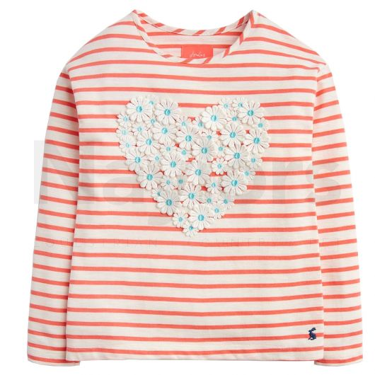 Joules Child Cora Jersey Top Pink Cream Stripe