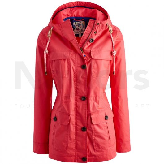 Joules Ladies April Waterproof Jacket Bright Pink