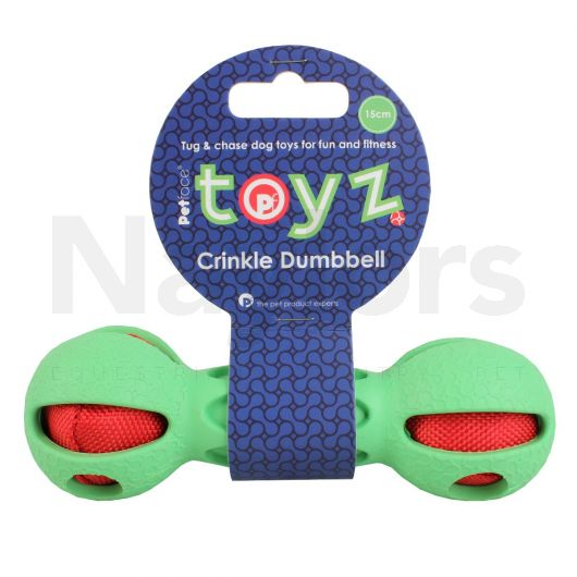 Petface® Toyz Crinkle Dumbell Green/Red