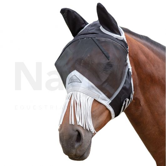 Shires Fine Mesh Fly Mask with Ears and Nose Fringe Black