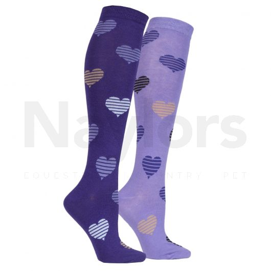StormBloc® Equestrian Kids Hearts Socks 2 Pack Purple