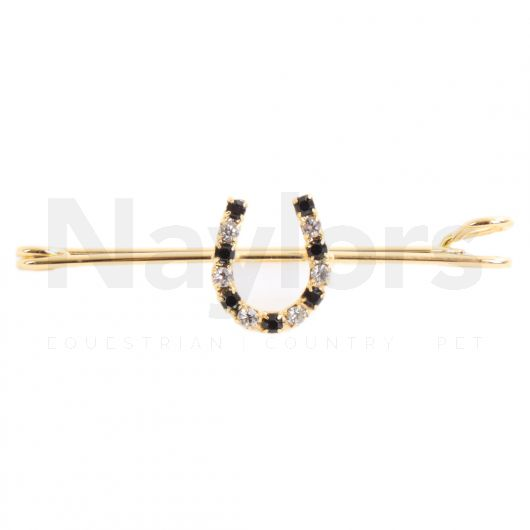 ShowQuest Horse Shoe Stock Pin Gold/Black Crystal