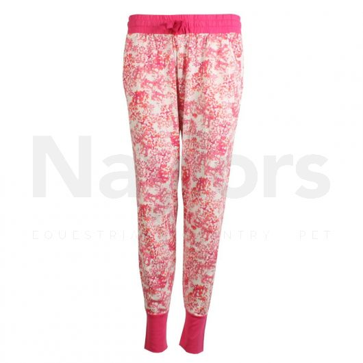 Joules Ladies Lois Pyjama Bottoms Cream Lilac Ditsy. Front shot.