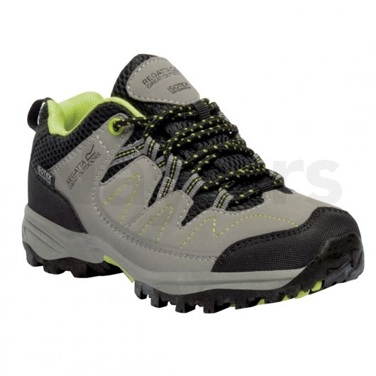 Regatta Junior Holcombe Low Walking Boots Rock Grey/Lime Zest