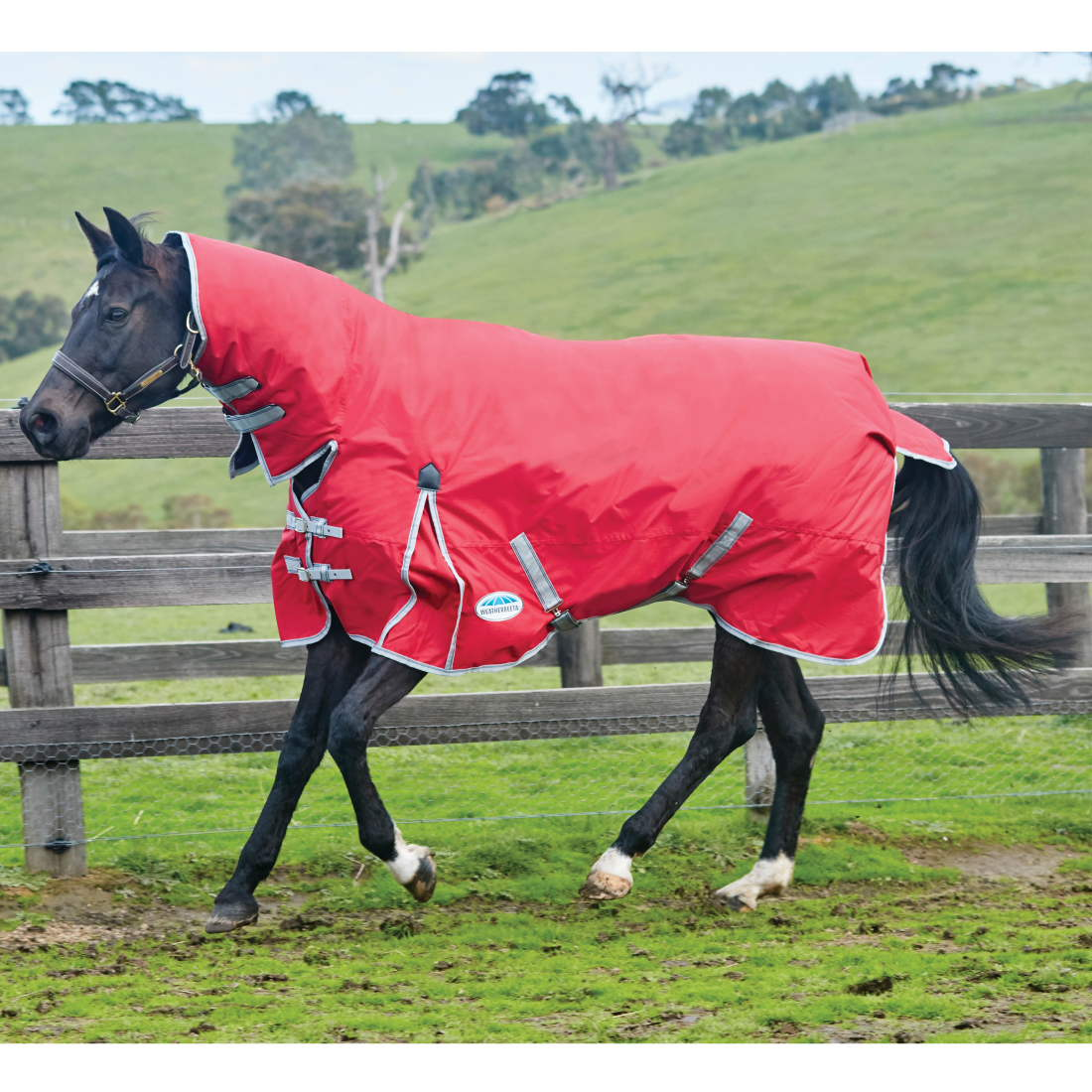 Weatherbeeta Comfitec Clic 220g Medium Weight Combo Neck Turnout Rug Red Silver