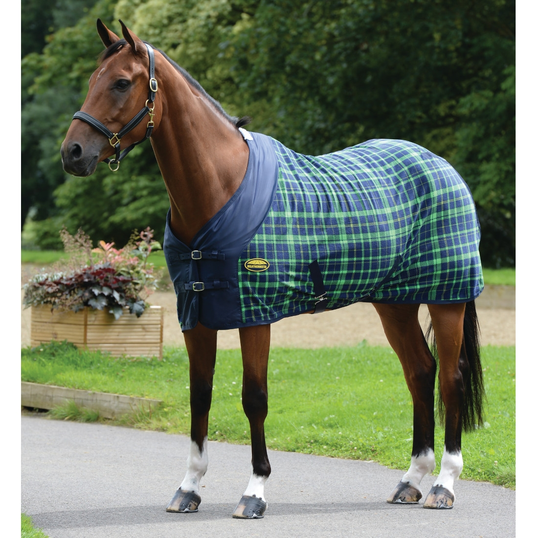 Weatherbeeta Fleece Cooler Standard Neck Rug Navy Lime Plaid